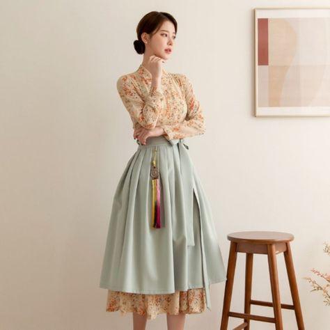 Beautiful Modern Hanbok Dress For Women   Hanbok Skirt   Midi Dress   Korean Style (CL00037)
