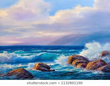 Original Oil Painting Sea Beach On Stock Illustration 1108518152 Shutterstock Ocean Painting Oil Painting Landscape Oil Painting
