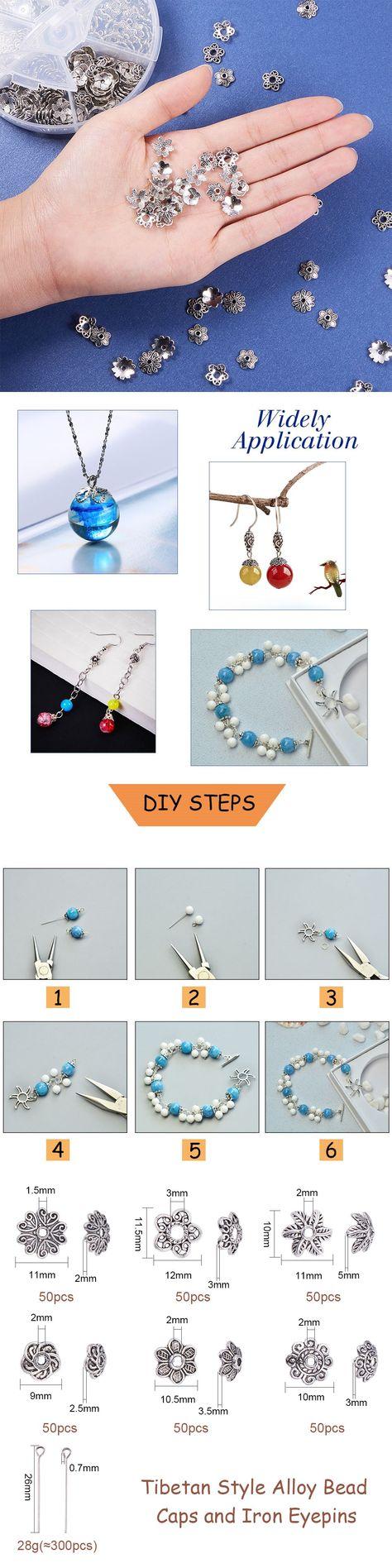 300pcs Tibetan Silver Charm 5mm Flower Crafts Bead Caps Bracelets Jewelry Making