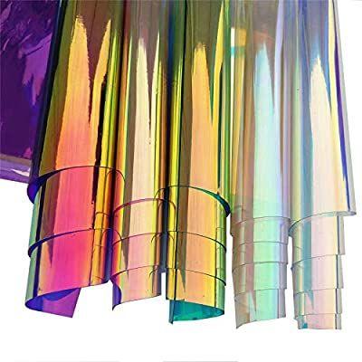 Zaione 5pcs Set 8 X12 20cm X 30cm A4 Sheets Pvc Holographic Clear Film Holographic Transparent Vinyl Mirro Mirrors Film Patchwork Diy Pvc Fabric