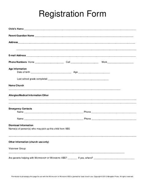 Registration Form Child S Name Daycare Forms School Admission Form Registration Form