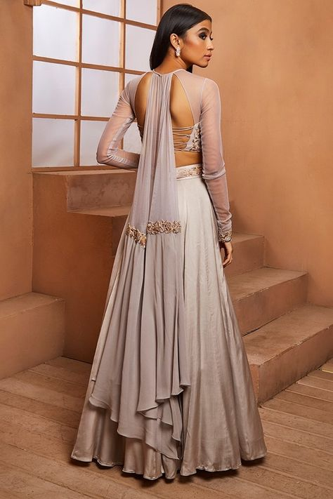 GREY BLOUSE WITH ATTACHED DUPATTA DRAPE & LEHENGA