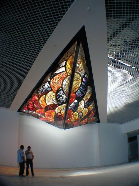 Stained glass ceiling by France Vitrail International, Paris http://www.france-vitrail.com/ http://www.ericbonte-maitreverrier.com/EN/