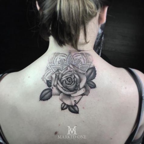 0abede91818f2 Realistic black and grey rose and dot work mandala tattoo by Adam Thomas of  Marked One Tattoo.