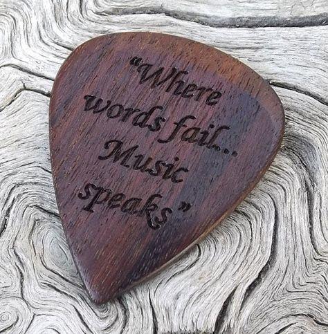 Handmade Premium Laser Engraved Guitar Pick - Mystery Wood - Macawood