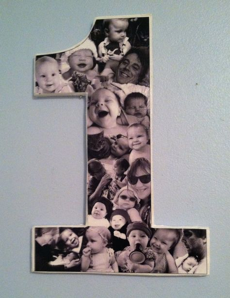 Number one photo collage on wooden number one. Black and white for baby's first birthday. Great for sports pictures as well. by MatchPointGifts on Etsy
