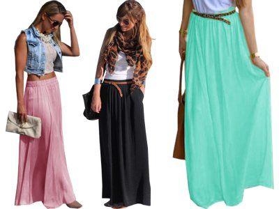 Długa modna spódnica maxi zwiewna kolory lato p538 | Clothes