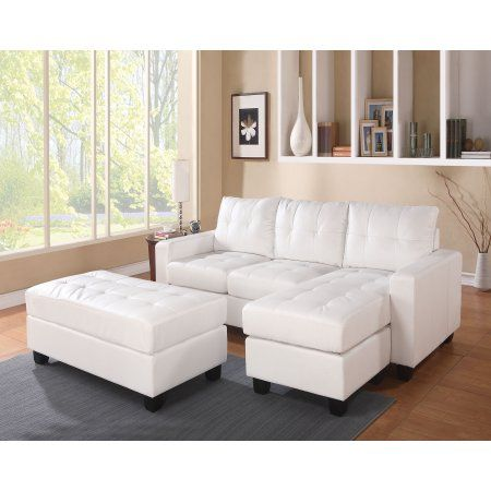 Trendy Sectional Sofa With Ottoman 3 Piece Set White Walmart Com Leather Sectional Sofa Sectional Sofa With Chaise Sofas For Small Spaces