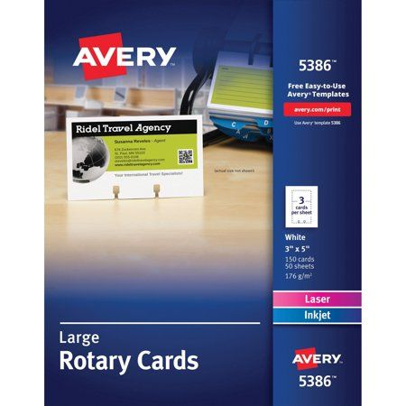 Avery Rotary Cards Uncoated Two Sided Printing 2 1 6 X 4 400 Cards 5385 Walmart Com Inkjet Avery Printable Card Files