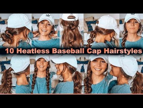 Hey guys, welcome back! Today I share with you 10 heatless hairstyles you can do when you are running late and need a fast cute hairstyle. Heatless Hairstyles, Gym Hairstyles, Hairstyles With Hats, Hairdos, Updos, Baseball Cap Outfit, Baseball Hat Hair, Baseball Caps, Baseball Cap Hairstyles