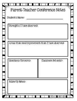 Parent Teacher Conference Forms Editable Parents As Teachers Parent Teacher Conferences Parent Teacher Conference Notes