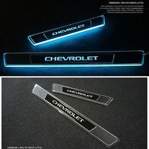 New Blue Led Light Door Sill Scuff Plate Aluminum For Chevrolet