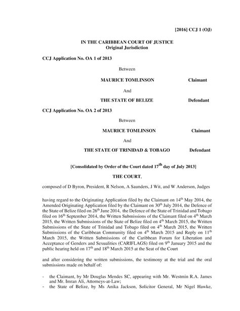 Gay Lesbian Bisexual Transgender \ Queer Jamaica CCJ Dismisses - music agreement contract