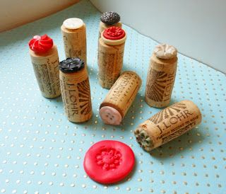 Vintage buttons glued to wine corks- to use as simple impressions for clay projects.