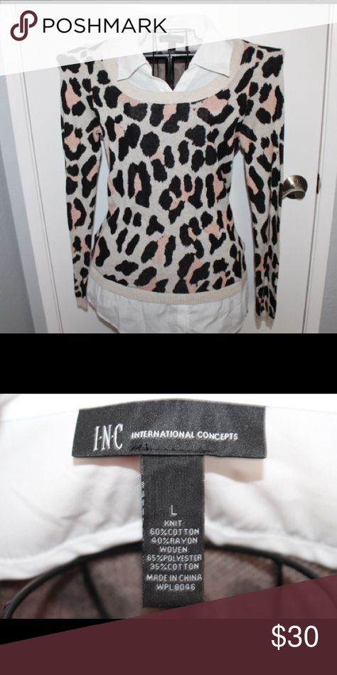 Leopard Print Sweater With Built In White Collar My Posh Picks