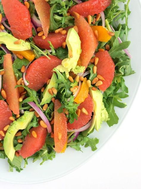 Avocado Citrus Salad with Arugula and Toasted Pine Nuts