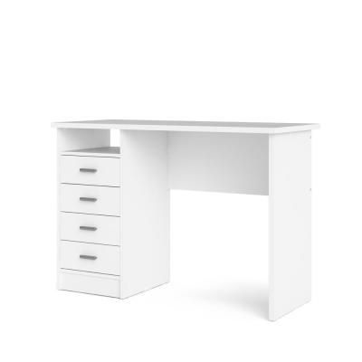 Tvilum 44 In Rectangular White 4 Drawer Writing Desk With Built In Storage 8014649 The Home Depot Tvilum Desk With Drawers White Desk With Drawers