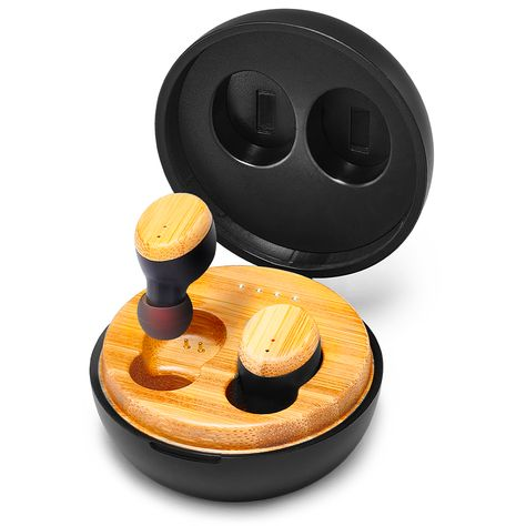 Symphonized SNRGY - True Wireless Wood Earbuds Headphones with Charging Case