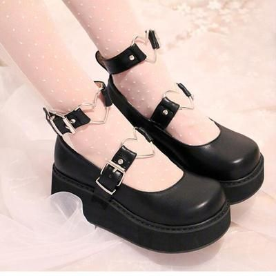 Cheap women pumps, Buy Quality shoes wedge heel directly from China wedge heels Suppliers: Ladies Cute Lolita Shoes Wedge Heel Heart Shaped Embellished Ankle Buckles 2017 New Round Toe Womens Pumps With Platform Kawaii Shoes, Kawaii Clothes, Kawaii Goth, Platform Pumps, Women's Pumps, Goth Platform Shoes, Platform Sneakers, Shoes Sneakers, Nike Shoes