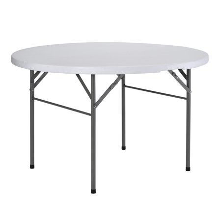 Round Plastic Fold In Half Table Size 48 Inch X 48 Inch X 29 Inch