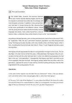 Hill Like White Elephant Ernest Hemingway Context Analysi Answers Essay Character