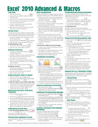 Basic Excel Formulas Cheat Sheet   Excel 2010 Advanced Quick Reference, Cheat Sheet, Guide, Card - Beezix