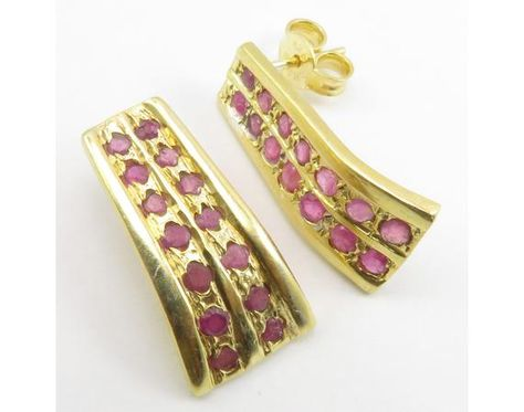 925 Solid Sterling Silver Yellow Gold Flashed RUBY Earrings 0.8