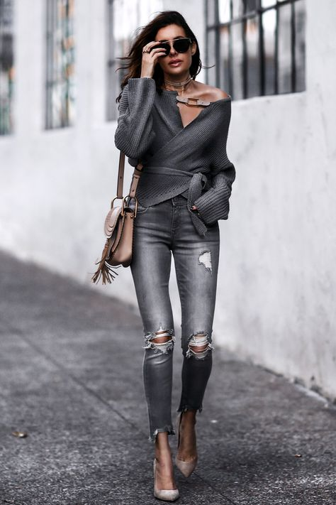 Love Erica's style.  Find her at fashionedchic.com!! Follow her for great inspiration!! grey wrap sweater, grey ripped skinny jeans, nude suede pumps