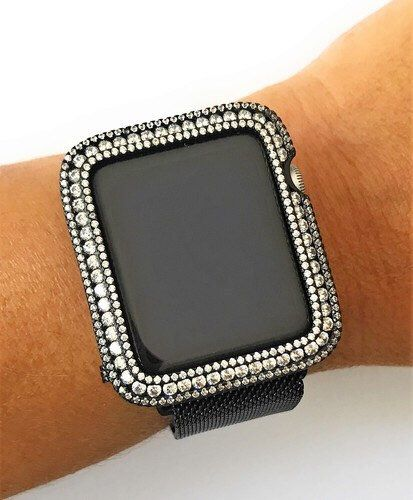 Emj Apple Watch Case Black Zirconia With Clear Stones Bling Apple