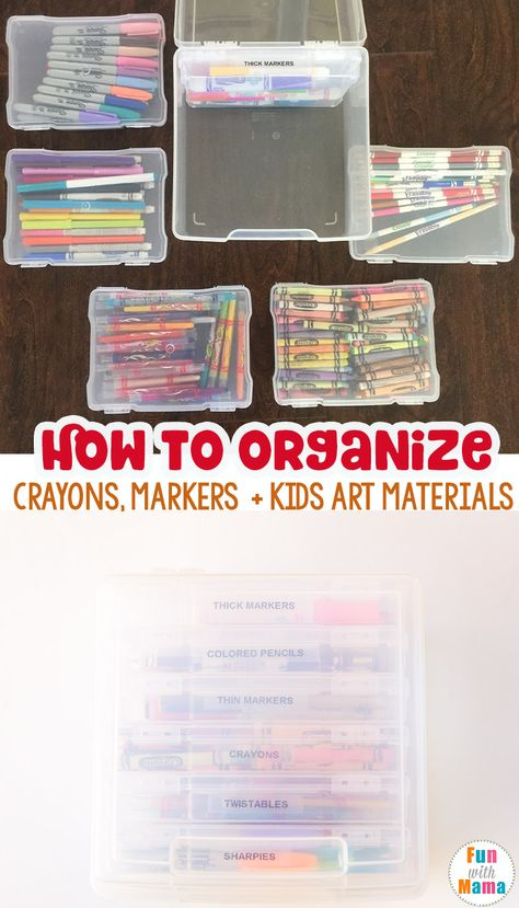 Art supply storage for toddler art supplies Are you looking for how to organize kids art supplies? Maybe specifically, how to organize crayons and markers? Then this simple solution is perfect for preschool and elementary students supplies via Toddler Art Supplies, Kids Craft Supplies, Kids Crafts, Baby Supplies, Crayon Organization, Kids Room Organization, Crayon Storage, Marker Storage, Organizing Crayons