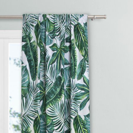 Mainstays Palm Leaf Single Curtain Panel Walmart Com Leaf