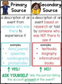 Primary And Secondary Sources Anchor Chart By Less Work More Play Primary And Secondary Sources Secondary Source Anchor Charts