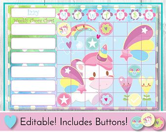 Unicorn Editable Chore Chart Reward Chart Behaviour And Responsibility Chart Fantasy Printable Chart Task Chart Reward Chart Chore Chart Chore Chart Kids