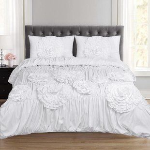 White Ruched Comforter Wayfair Ca Duvet Sets Duvet Cover Sets