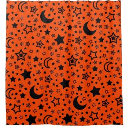 Halloween Moon And Stars Shower Curtain Zazzle Com Halloween Moon Star Shower Custom Shower Curtains