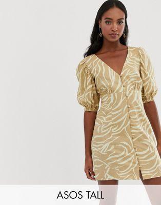 50b0ee1e294 ASOS DESIGN Tall button through v front v back mini dress in natural zebra