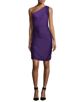 One-Shoulder Ruched Cocktail Dress, Purple by Halston Heritage at Neiman Marcus.
