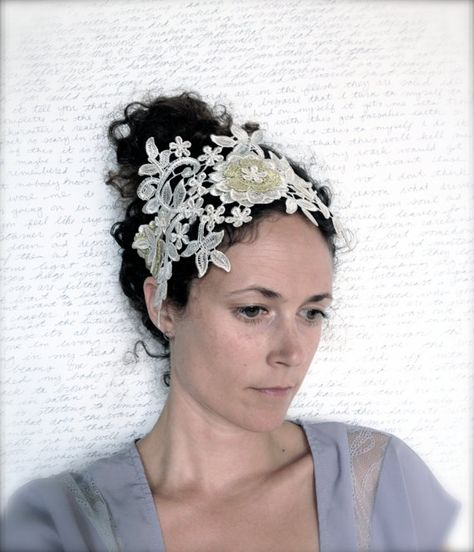 Bridal Crown Lace Headpiece Lace Floral Crown  by Katie Burley Millinery, $350.00