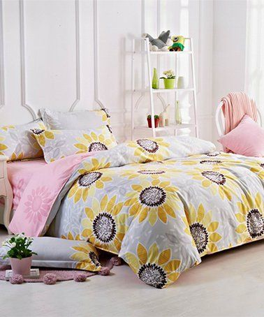 Look At This Zulilyfind Gray Yellow Sunflowers Duvet Set