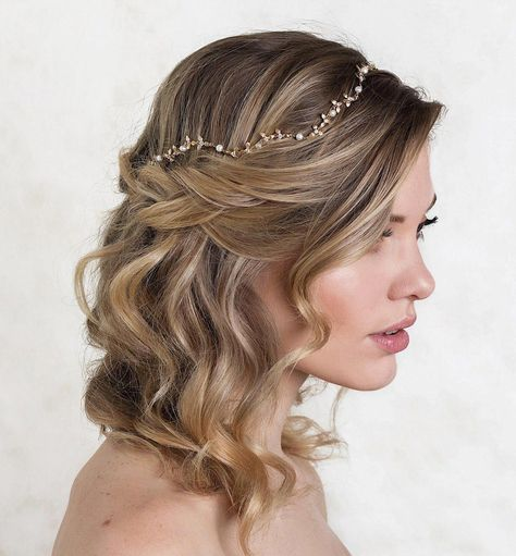 Gold bridal headpiece handcrafted with ivory freshwater pearls and 18K gold | bridal headpieces, hair accessories for wedding, wedding accessories, wedding updo, headpiece for wedding #updosweddinghair #promhair #KidsHair