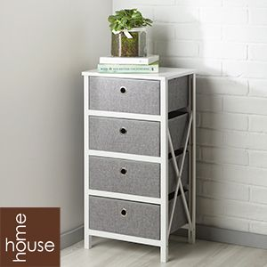 Picture Of Folding Grey White 4 Drawer Storage Bargain Furniture Storage Drawers Drawers