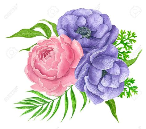 Watercolor Bouquet Of Anemone And Peony Flowers Isolated On White