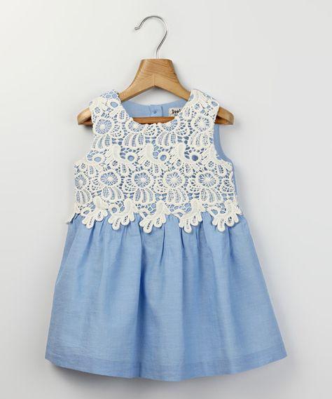 Beebay Light Blue & White Lace Chambray Dress - Infant & Toddler   zulily