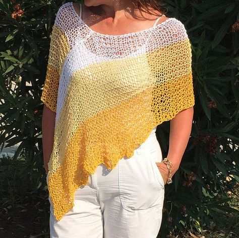 Yellow knit summer ponchocotton summer poncho linen by Mrlworks