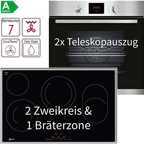 Neff Edelstahl Easyclean Einbau Backofen Autark Set 80 Cm Elektro