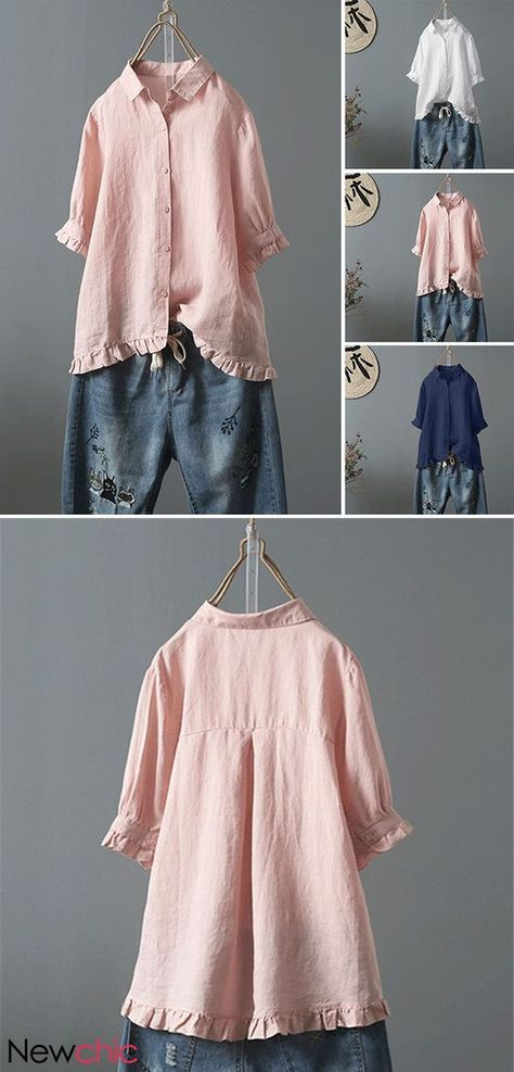 Lace Button Turn Down Collar Solid Color Blouses and Shirts.