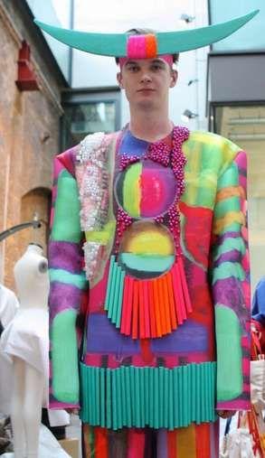 colorful mens clothing - Xue Li debuted a collection of colorful mens clothing at this year's Central Saint Martins Graduate Fashion Show.