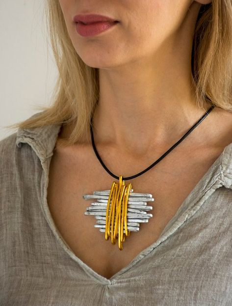 Silver And Gold Wrap Pendant Necklace, Leather Necklace For Women, Statement Pendant Necklace, Stylish Necklace, Charm Choker Necklace - Halskette Ideen