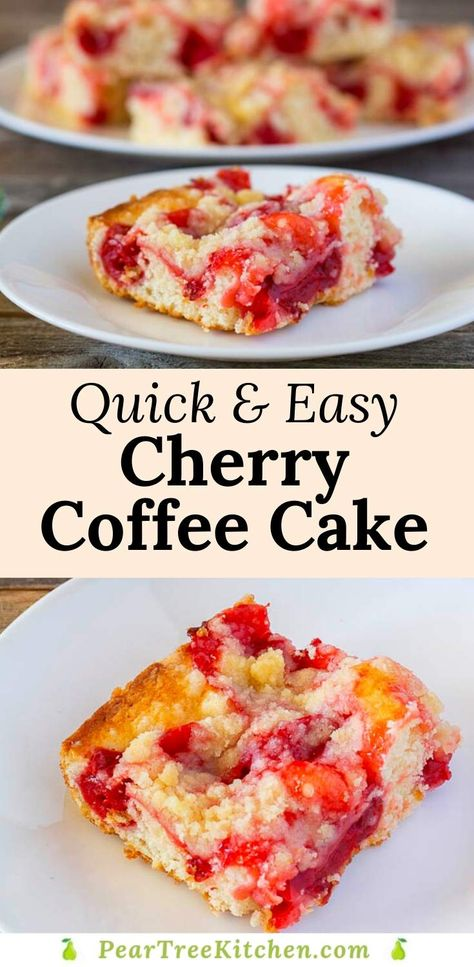 Quick & Easy Breakfast Treat - Cherry Coffee Cake made with pie filling and other simple pantry ingredients. It doesn't use a cake mix! #recipes #breakfast #easy #cherry #coffeecake