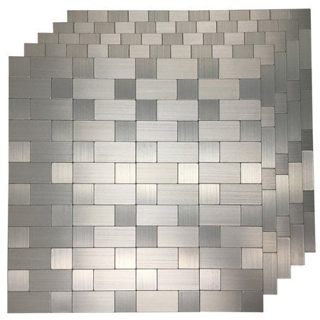 Art3d Aluminium Silver 12 X12 Peel And Stick Backsplash Tile 5 Pack Walmart Com Metallic Backsplash Peel And Stick Tile Stick On Tiles